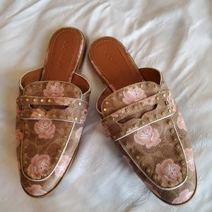 COACH Tan Pink Fiona Floral Loafer Mules/Slides